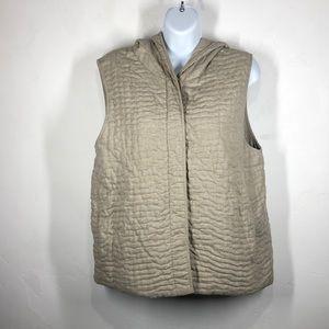 Eileen Fisher tan hooded vest size medium